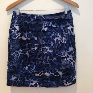 BEBE Denim Blue Layered Leopard Print Miniskirt M